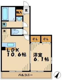 ピアチェボーレ2階Fの間取り画像