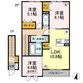 クレール A棟2階Fの間取り画像