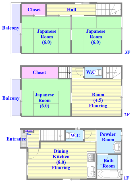 宝持3-2-16貸家 とにかく収納が多く、ファミリーさんに使いやすい間取りです。