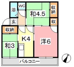 マンション一本木3階Fの間取り画像