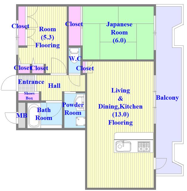 アインス巽 セパレートで和室と洋室の両方ある間取りです。