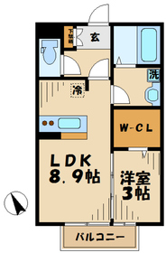 本厚木駅 バス12分「萩野新宿」徒歩2分1階Fの間取り画像