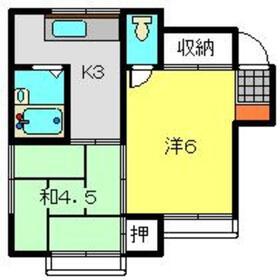第6むさし荘2階Fの間取り画像