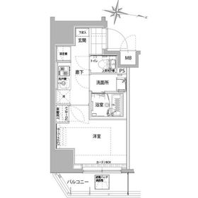 ハーモニーレジデンス横浜大通り公園5階Fの間取り画像