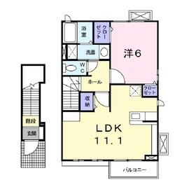 フォンターナⅡ2階Fの間取り画像
