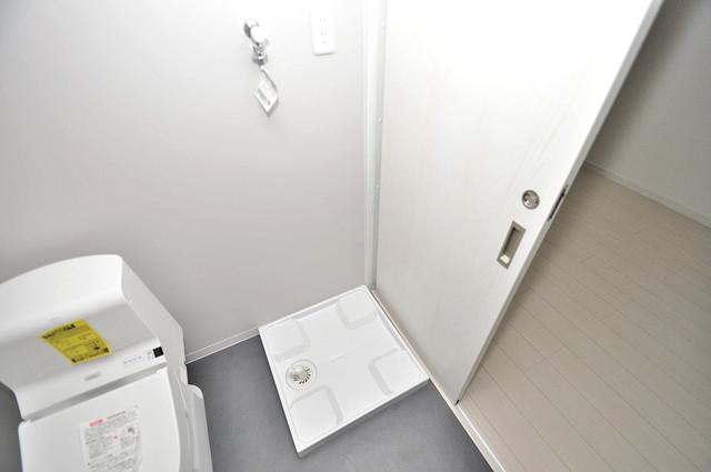 クロスレジデンス布施 嬉しい室内洗濯機置場。これで洗濯機も長持ちしますね。