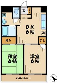 シャトルブラウンA5階Fの間取り画像