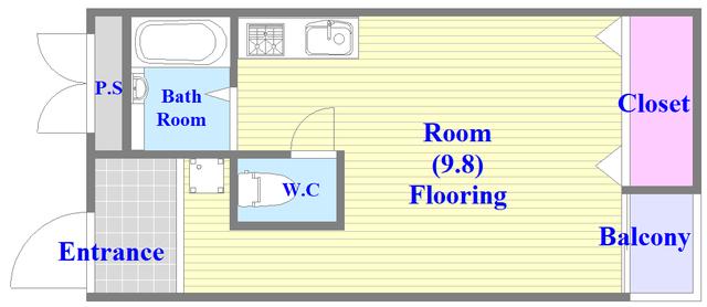 荻田第6ビル 各部屋が余裕のある広さで、とてもゆったりとした間取りです。