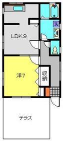 TKハイツⅡ1階Fの間取り画像