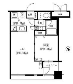 レジディア横濱馬車道5階Fの間取り画像