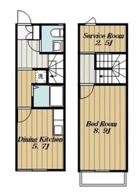 本厚木駅 バス10分「戸室」徒歩3分2階Fの間取り画像