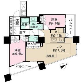 ザ・パークハウス西新宿タワー6047階Fの間取り画像