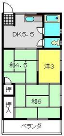 第3岡谷荘2階Fの間取り画像