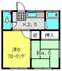 大福荘2階Fの間取り画像