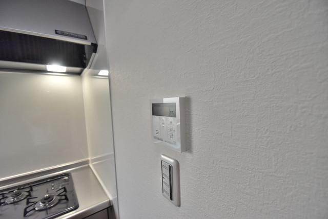 グロースコート弥刀 給湯リモコン付。温度調整は指1本、いつでもお好みの温度です。