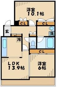カセリオ五月台1階Fの間取り画像