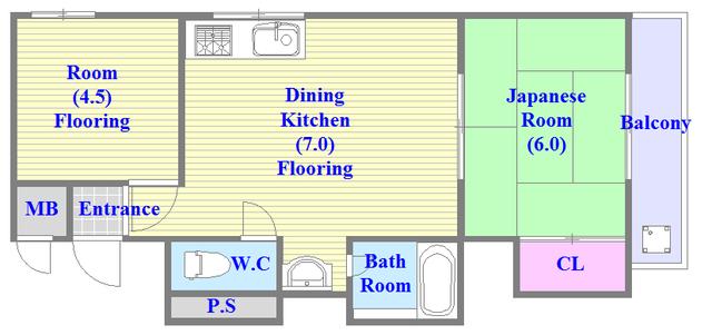 すみれプラザ長堂 広いリビング、独立キッチンなど、使い勝手の良い間取りです。