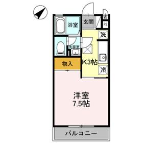 ハイム安井六番館1階Fの間取り画像