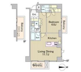 ラフォンテ麻布十番2階Fの間取り画像