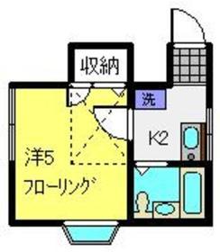 南太田ハイツ2階Fの間取り画像