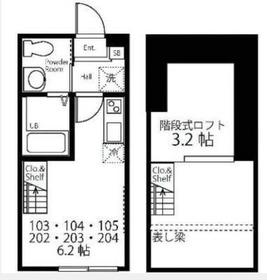 ハーミットクラブハウス妙蓮寺Ⅱ1階Fの間取り画像