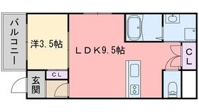 メゾンドリバティ西新1階Fの間取り画像