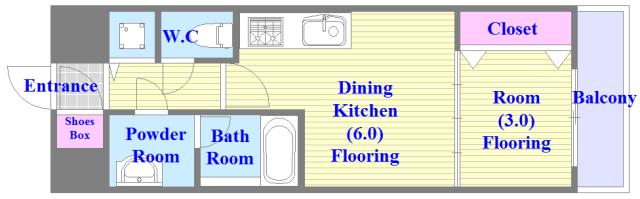 オリエンテム バストイレがセパレート、独立洗面所のある使い易い間取りです。