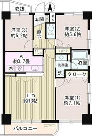 サンハイム11階Fの間取り画像