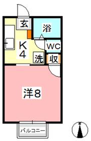 コーポ楷1階Fの間取り画像