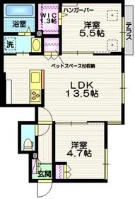 (仮称)吉川市平沼メゾン ペット共生1階Fの間取り画像