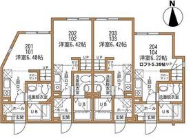 ハーミットクラブハウス三ツ境2階Fの間取り画像