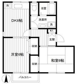 飯倉ハイムB棟2階Fの間取り画像
