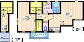 石川町・1DK2階Fの間取り画像
