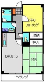 青山コーポA棟2階Fの間取り画像