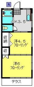 第一松井コーポラス1階Fの間取り画像