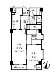 第二藤生ハイツ4階Fの間取り画像