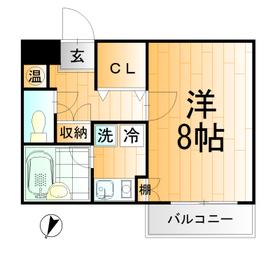 広々8帖洋室バストイレ別1K