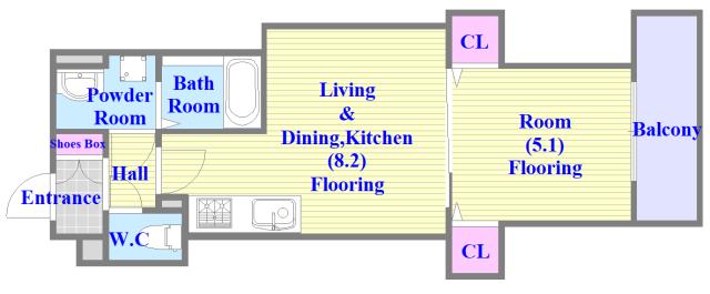 ラモーナ巽南 新築で、ペットと一緒に暮らせて、1LDKタイプの間取です。