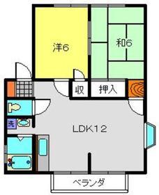 林ハイツB棟1階Fの間取り画像