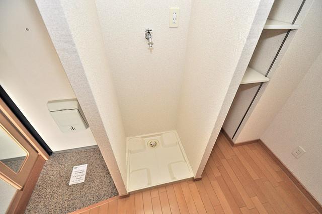グランデージ長田東 洗濯機置場が室内にあると本当に助かりますよね。