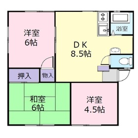 カトレアハイツA2階Fの間取り画像
