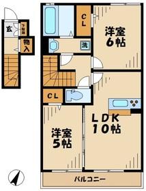 ルミエールA2階Fの間取り画像