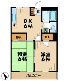 ハイツニュータマ1階Fの間取り画像