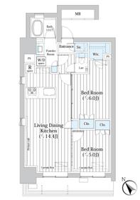 ライオンズフォーシア築地ステーション10階Fの間取り画像