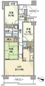 朝日マンション横浜蒔田7階Fの間取り画像