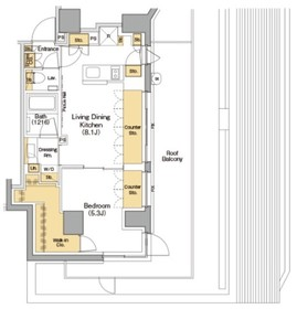 ザ・パークハビオ神楽坂香月5階Fの間取り画像