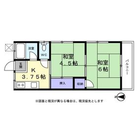 田村コーポ1階Fの間取り画像