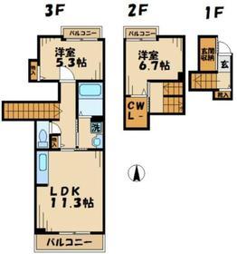 パークウエスト2階Fの間取り画像