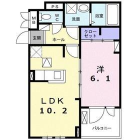 ヒルサイドハウス1階Fの間取り画像
