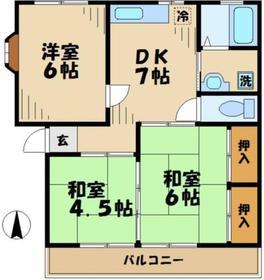 田中ハイツ3DK2階Fの間取り画像